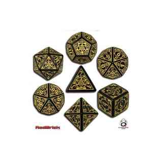 Earthdawn Dice Set Black & Yellow (7)