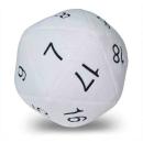 Jumbo D20 Dice Plush in White with Black Numering