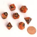 Blackfire Dice - Fairy Dice RPG Set Mini Black Orange