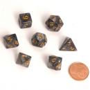Blackfire Dice - Fairy Dice RPG Set Mini Marbled Black