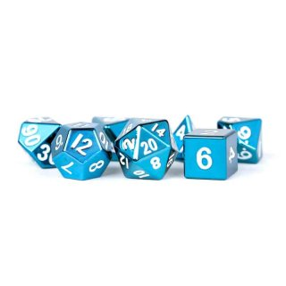 16mm Metal Polyhedral Dice Set: Blue