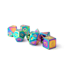 16mm Metal Polyhedral Dice Set: Torched Rainbow
