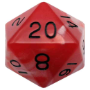 35mm Mega Acrylic d20: Red/White with Black Numbers