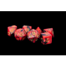 16mm Acrylic Polyhedral Dice Set: Red/Black with Gold...