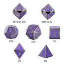 Metal & Enamel Dice Set Grape & Gunmetal (7)
