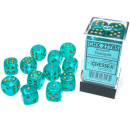 Borealis 16mm d6 Teal/gold Luminary Dice Block (12 dice)