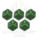 Battle Dice Set German d6 Green & Black (5)